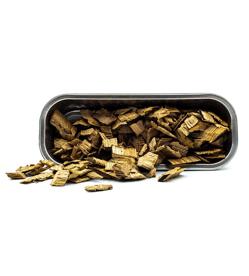 Bandeja de aluminio para ahumar Aluminium Tray Chips Mr. Barrel por dentro